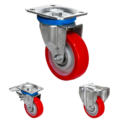 Ball Bearing Zinc Plated Casters White nylon center Red polyurethane tire 441-1323 lb