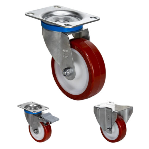 Zinc Plated Casters White polypropylene center Brown cast polyurethane 221-662 lb