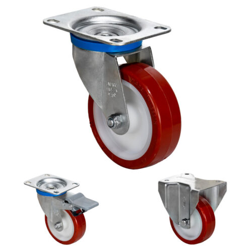 Zinc Plated Casters White polypropylene center Brown cast polyurethane 221-662 lb 100-300 kg -Indoors & Outdoors
